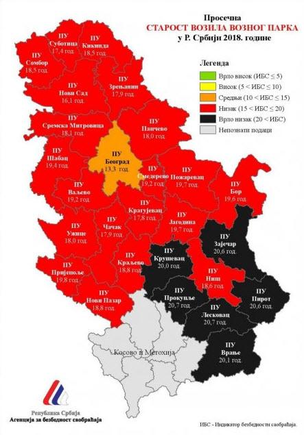 Mapa Prosecne Starosti Automobila U Srbiji Automobili Zajecaraca
